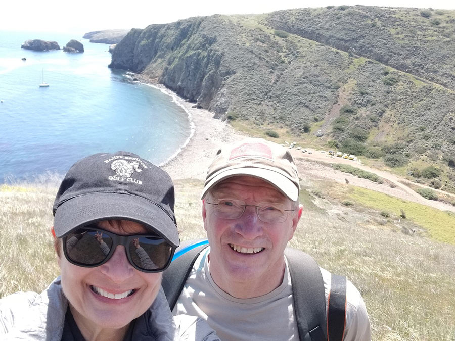 Chere and Gary at the Channel Island's National Park, checking the last item off of Gary's Bucket List