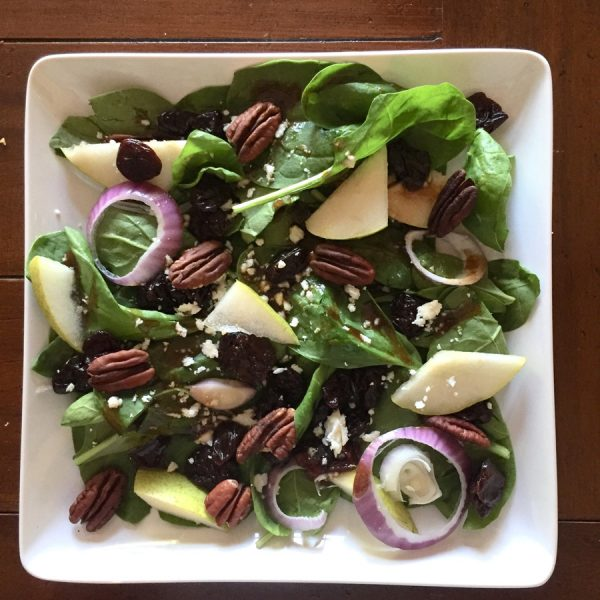 Spinach Salad with Pears, Cranberries and Toasted Pecans from Chere Bork and Laurie Meyer Nutrition