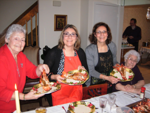 Barbara's family enjoying their traditional holiday 7 types of fish