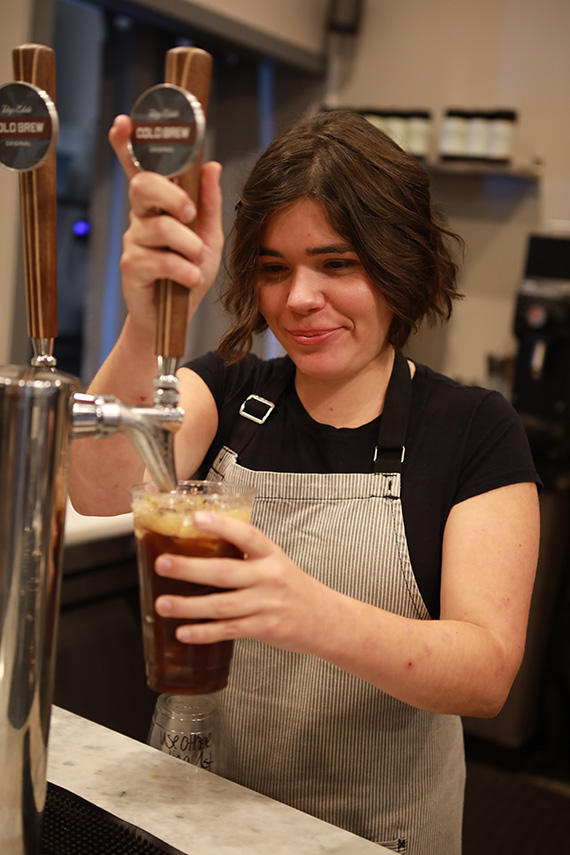 Her daughter Isabella has trained to be a barista and enjoys making a cold brew