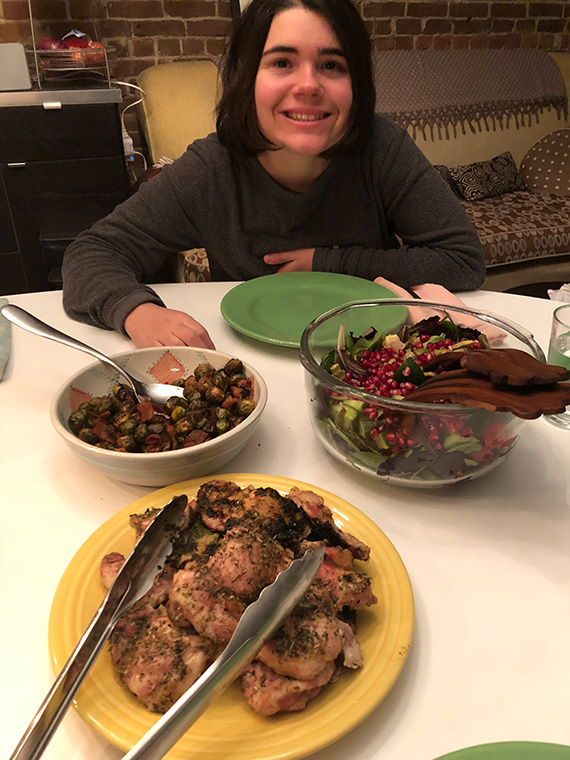 Isabella cooked a family meal with her food coach who also happened to be Laura's nutrition intern!