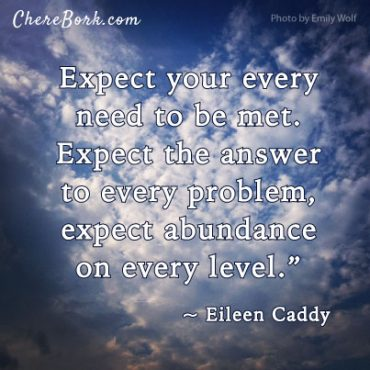 Expect your every need to be met. Expect the answer to every problem, expect abundance on every level. – Elieen Caddy