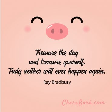 Treasure the day and treasure yourself. Truly neither will ever happen again. -Ray Bradbury