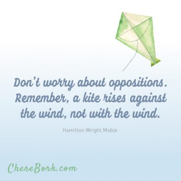 Don't worry about oppositions. Remember, a kite rises against the wind, not with the wind. -Hamilton Wright Mobie