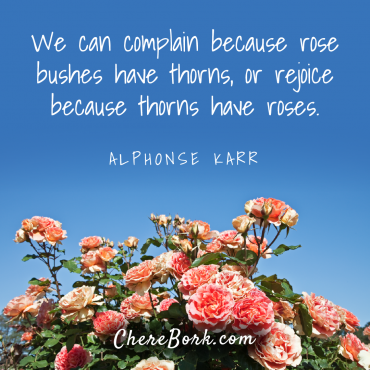 We can complain because roses have thorns, or rejoice because thorns have roses. -Alphonse Karr